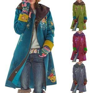 Ladies Floral Winter Retro Warm Coat